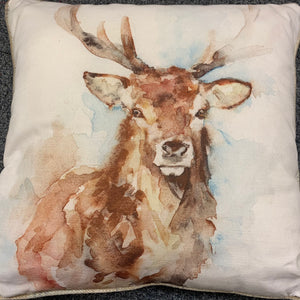 Piped Watercolour Stag Cushion