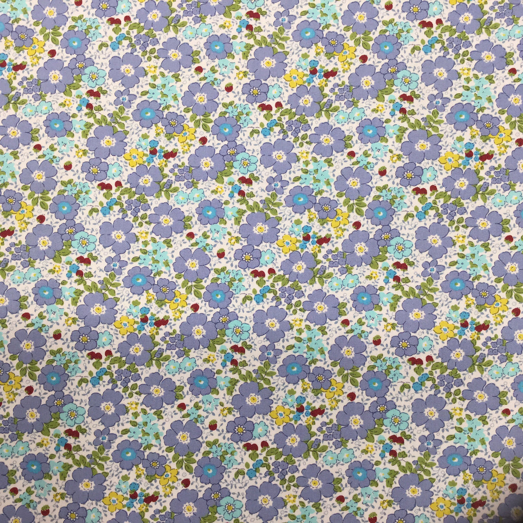 Blue Floral Cotton Poplin