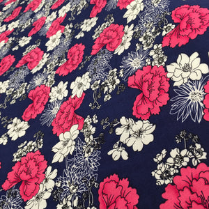 Navy Flowers Viscose Print