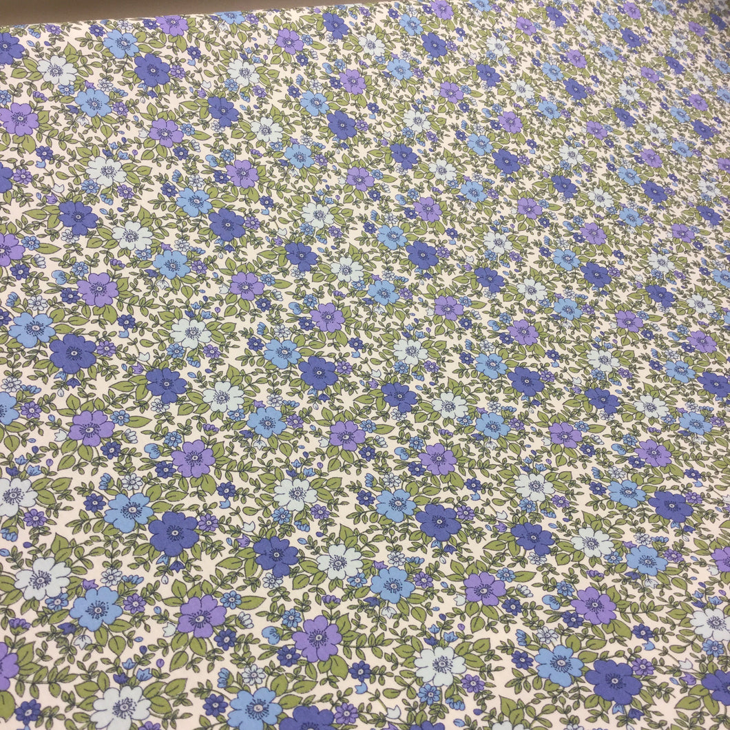 Blue Flower Cotton Poplin