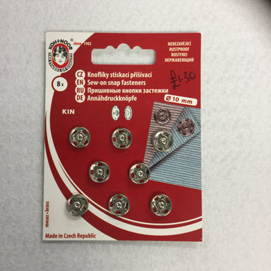 10mm Nickel Plated Snap Fasteners