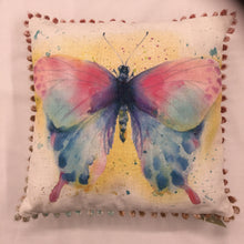 Load image into Gallery viewer, Butterfly Bobble Trim Cushion