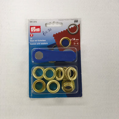 Gold Eyelets With Washers - 14mm