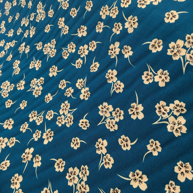 Teal Floral Viscose Twill