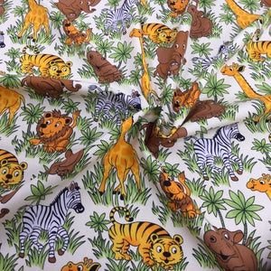 Zoo Animals Cotton Poplin