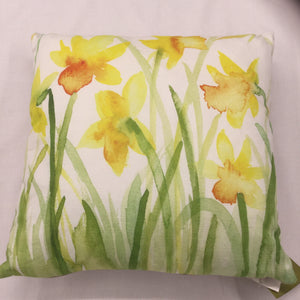 Water Colour Florals Daffodil Cushion
