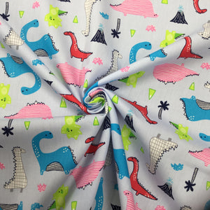 Blue Dinosaurs Cotton Poplin