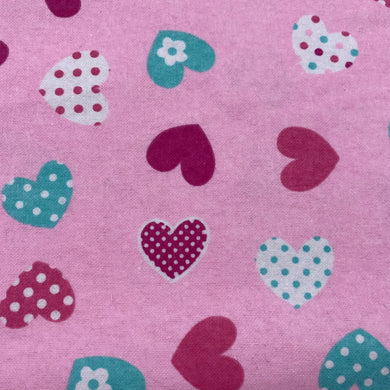 Pink Hearts Cotton Flannel Print