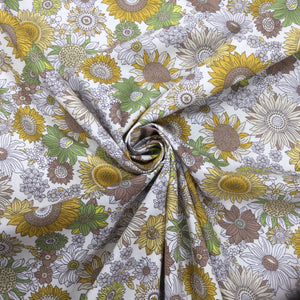 Ochre Flowers Cotton Poplin