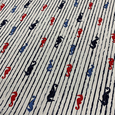 Multi Sea Horses Cotton Poplin
