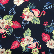 Load image into Gallery viewer, Navy Flamingo Polyester Print