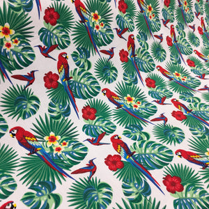 White Parrots Cotton Poplin