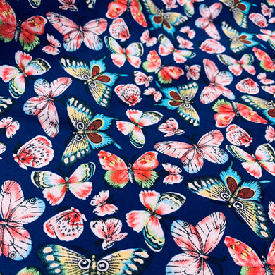 Navy Butterfly Poly Silky Satin