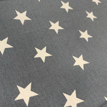 Load image into Gallery viewer, Dark Grey Stars Cotton Poplin