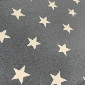 Dark Grey Stars Cotton Poplin