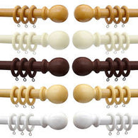 Woodline Curtain Pole with Rings - SBFabrics