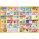 Alef Bais educational colorful wall poster (Level 1), with YIDDISH keywords & beautiful pictures, for kids at school/home – High quality, fully laminated.