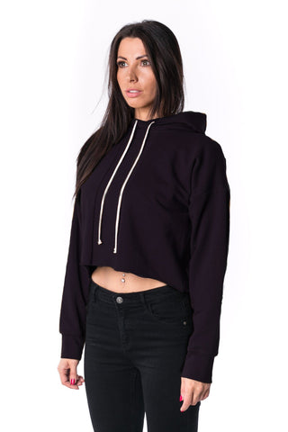 The Woman Panelled Cropped Hoody 17 // black