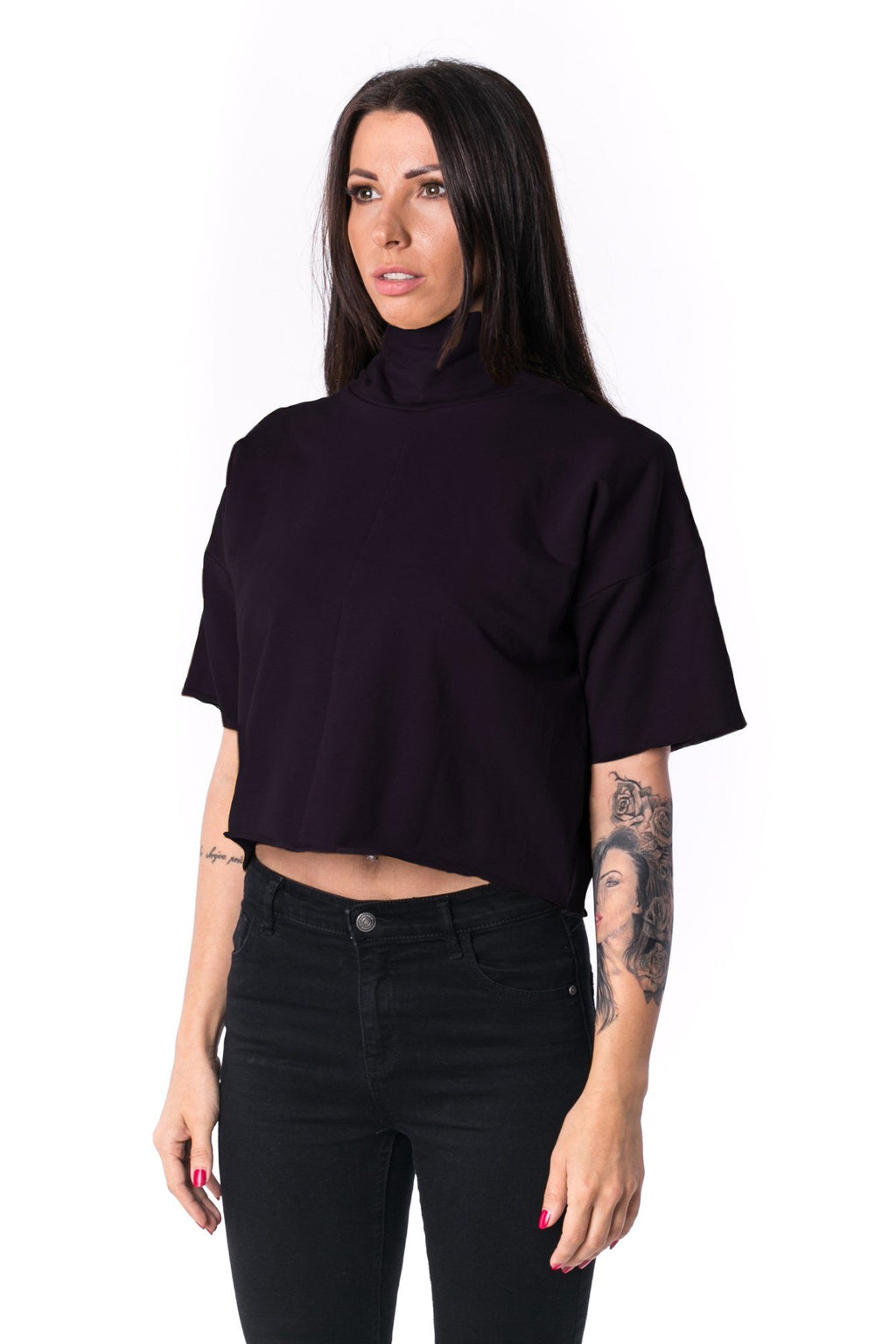 The Woman Panelled Crop Turtleneck 17 // black