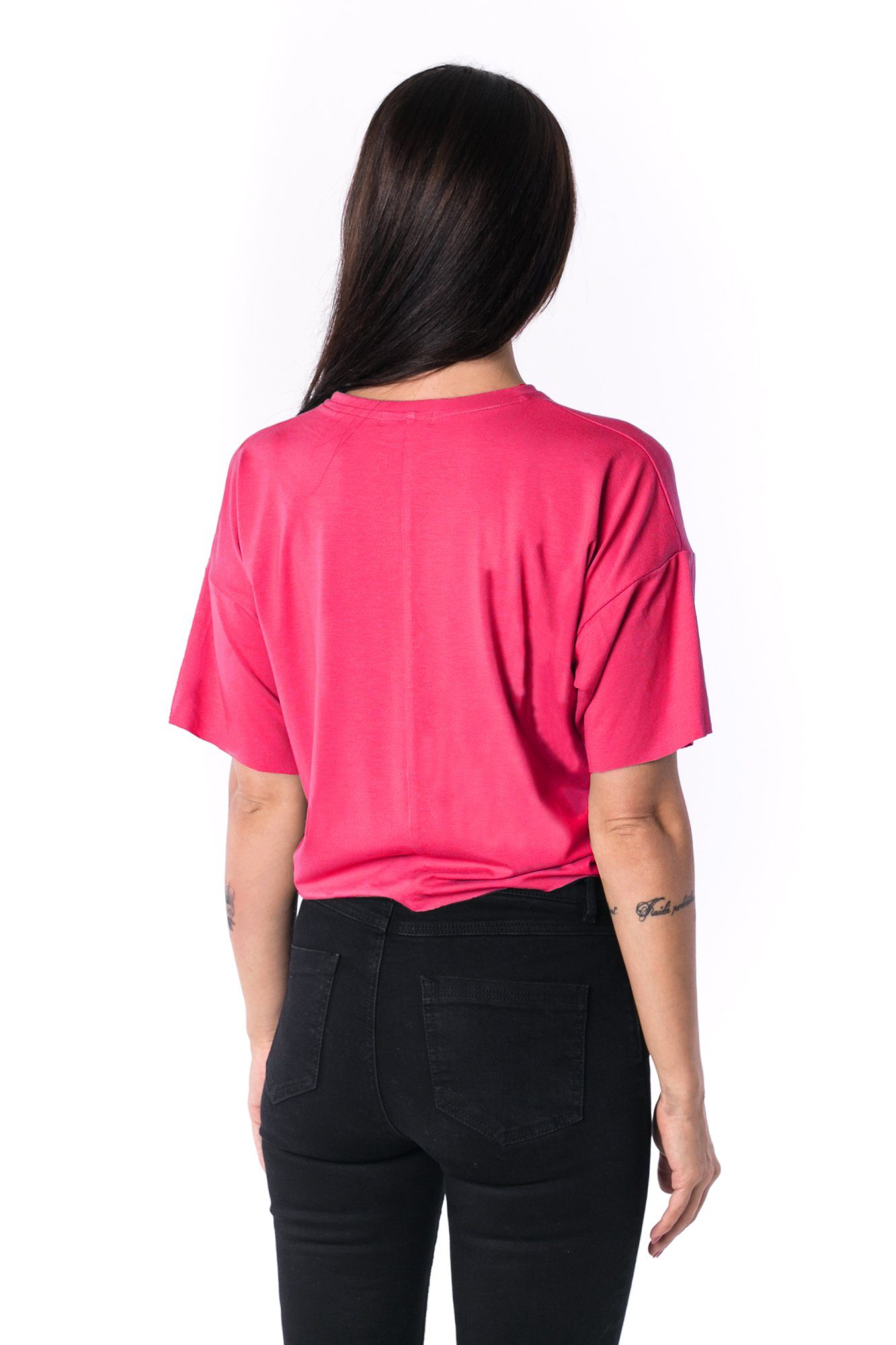 Woman Panelled Oversized Cropped Tee 17 // fuchsie