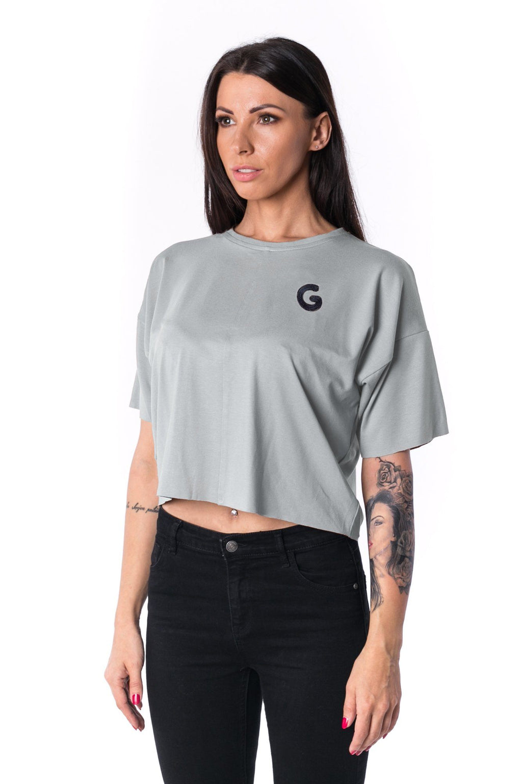 Woman Panelled Oversized Cropped Tee 17 // lightgrey