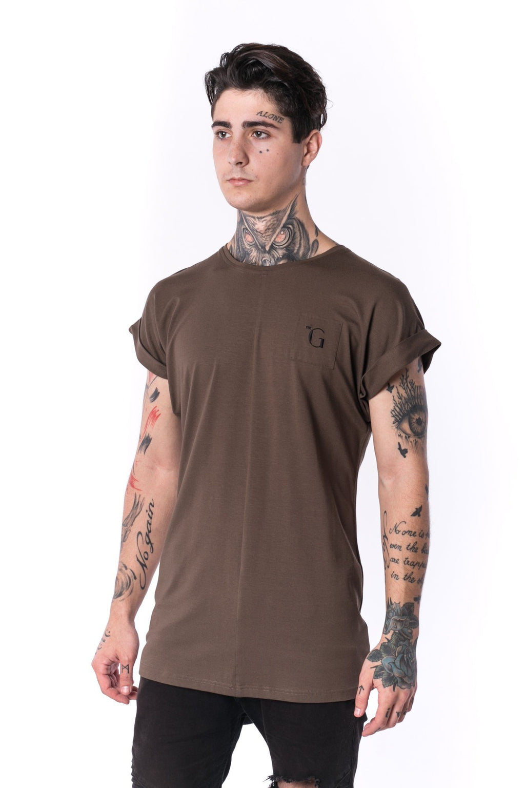 The Man Panelled 4cm Bent Sleeve Tee 17 // firgreen