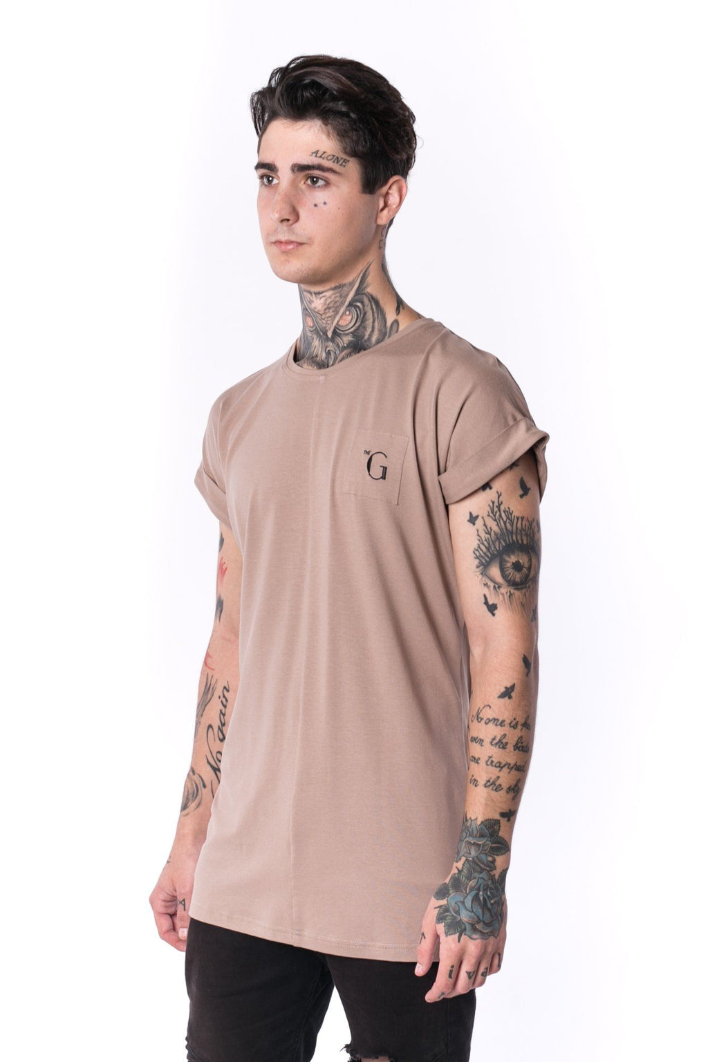 The Man Panelled 4cm Bent Sleeve Tee 17 // mocca