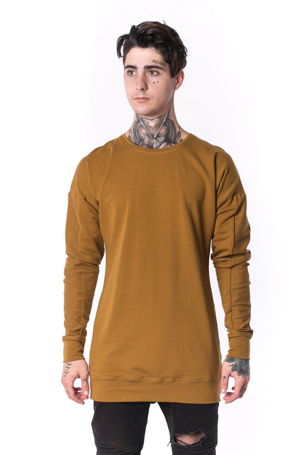 The Man Panelled Pullover Crewneck 17 // umber