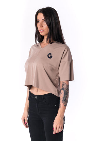 The Woman Panelled Oversized Cropped V-Neck Tee 17 // mocca