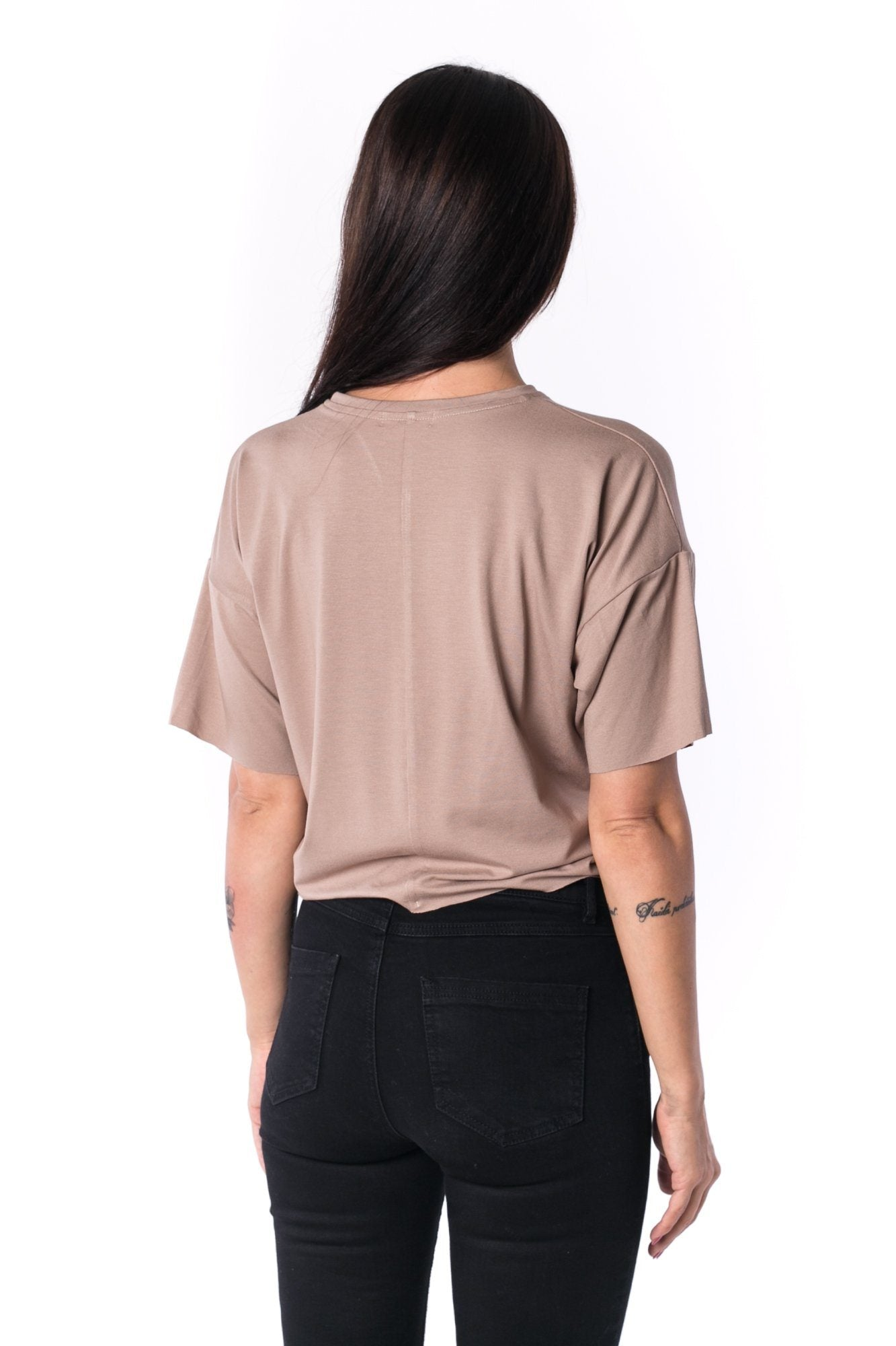 The Woman Panelled Oversized Cropped Tee 17 // mocca