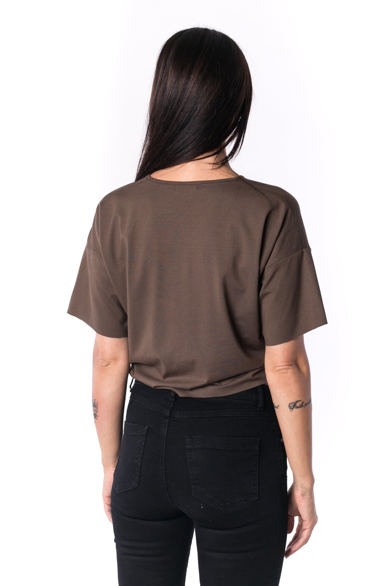 TheG Woman Panelled Oversize Crop V-Neck Tee 17 // firgreen