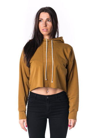 The Woman Panelled Cropped Hoody 17 // umber