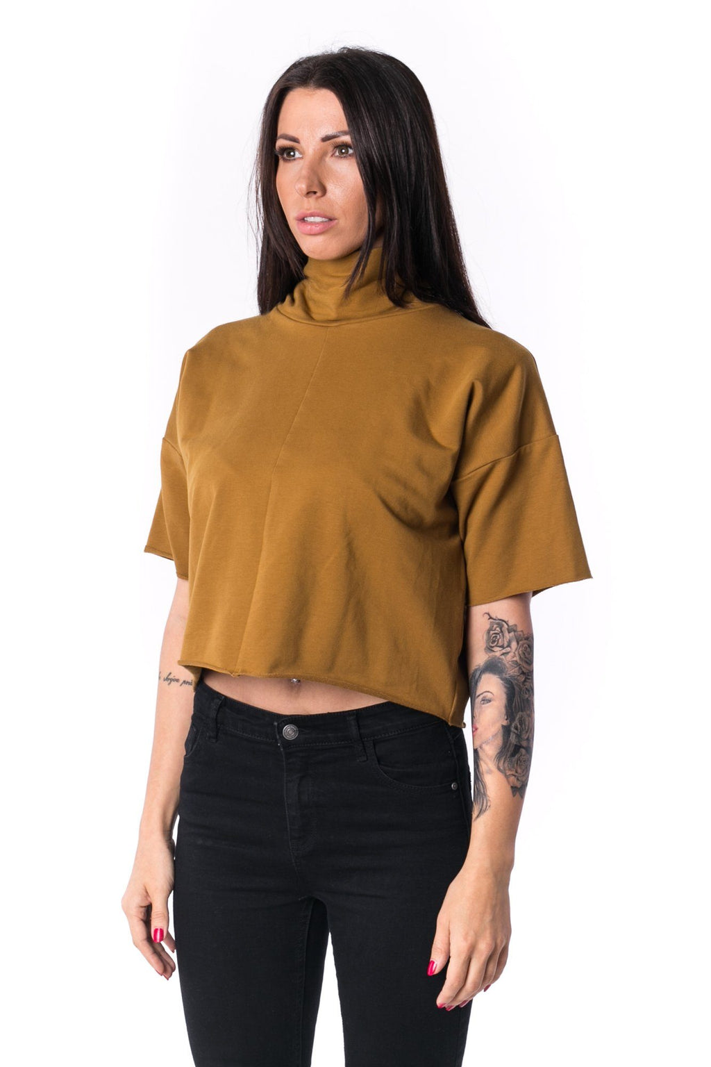 The Woman Panelled Crop Turtleneck 17 // umber