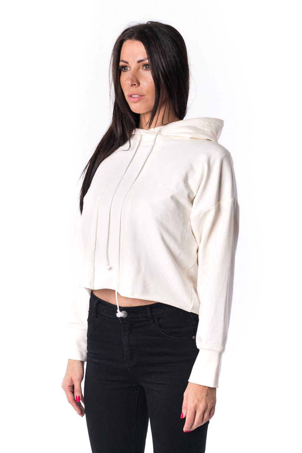 The Woman Panelled Cropped Hoody 17 // pearl