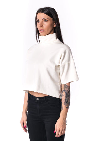 The Woman Panelled Crop Turtleneck 17 // pearl