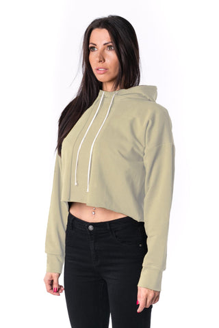 The Woman Panelled Cropped Hoody 17 // creme