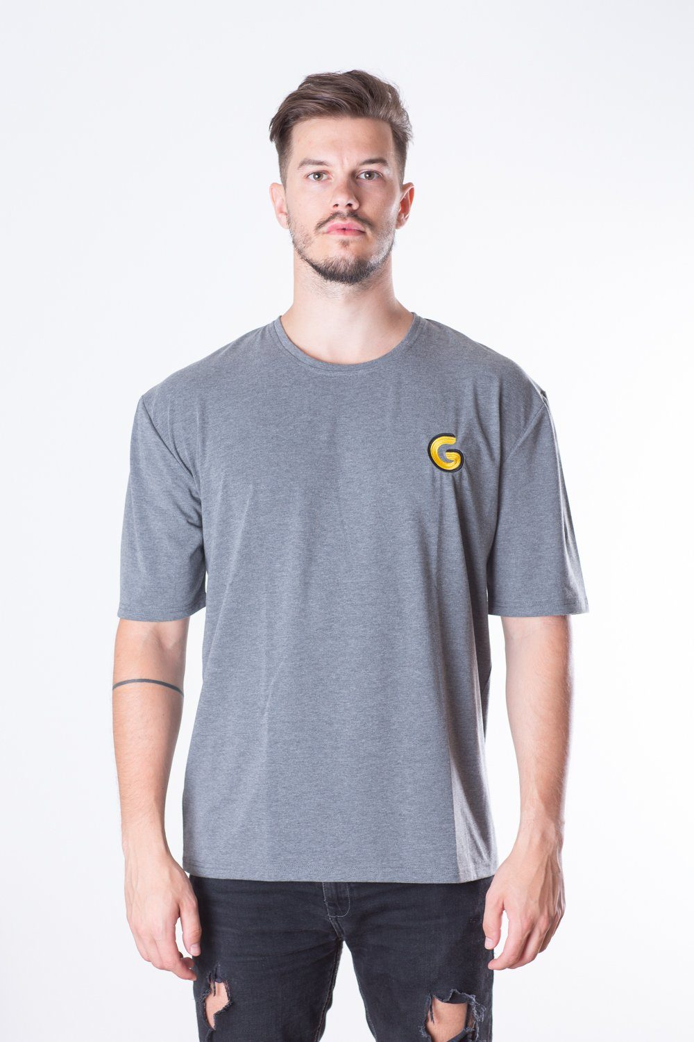 French Terry Man Oversize Tee // grey stripe