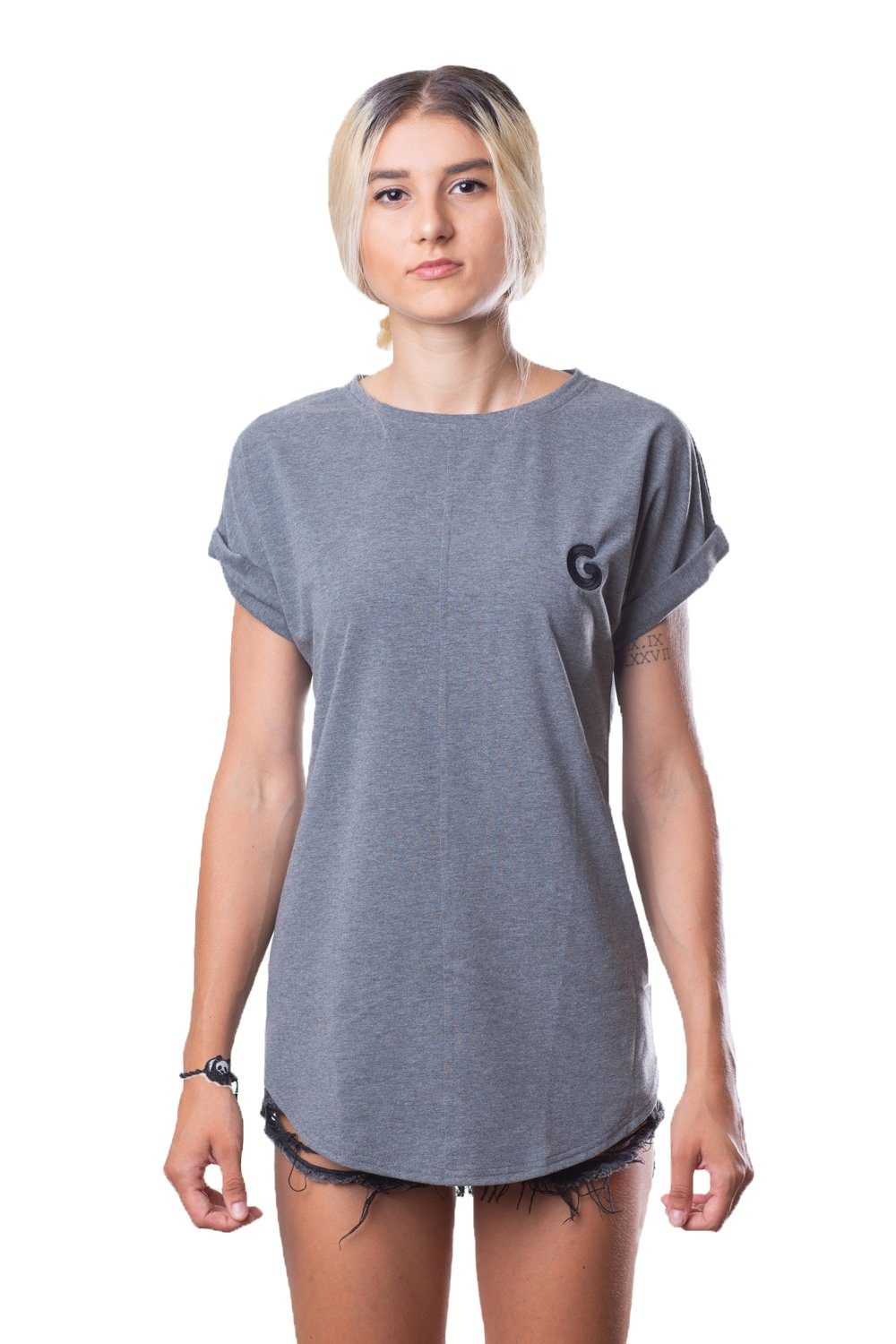 French Terry Woman Oversize Tee // grey stripe