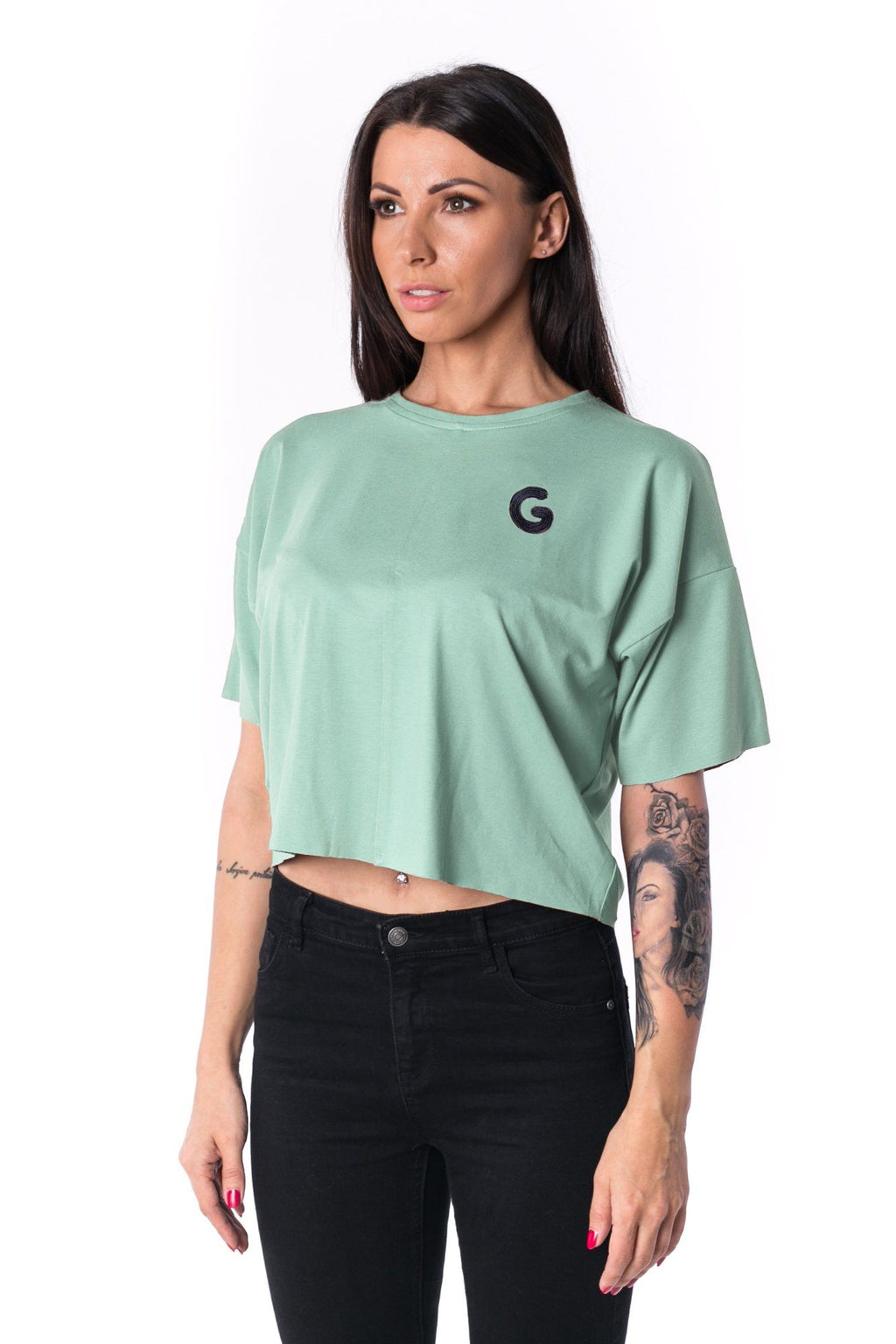 Woman Panelled Oversized Cropped Tee 17 // mint