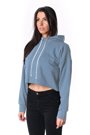 The Woman Panelled Cropped Hoody 17 // blue