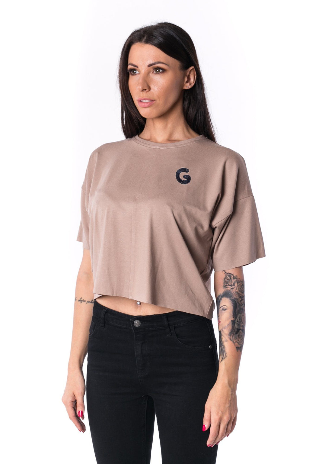 TheG Woman Panelled Oversize Crop Tee 17 // mocca