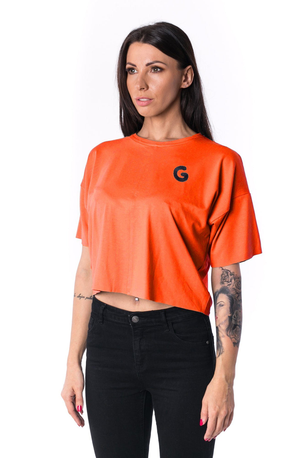 Woman Panelled Oversized Cropped Tee 17 // orange