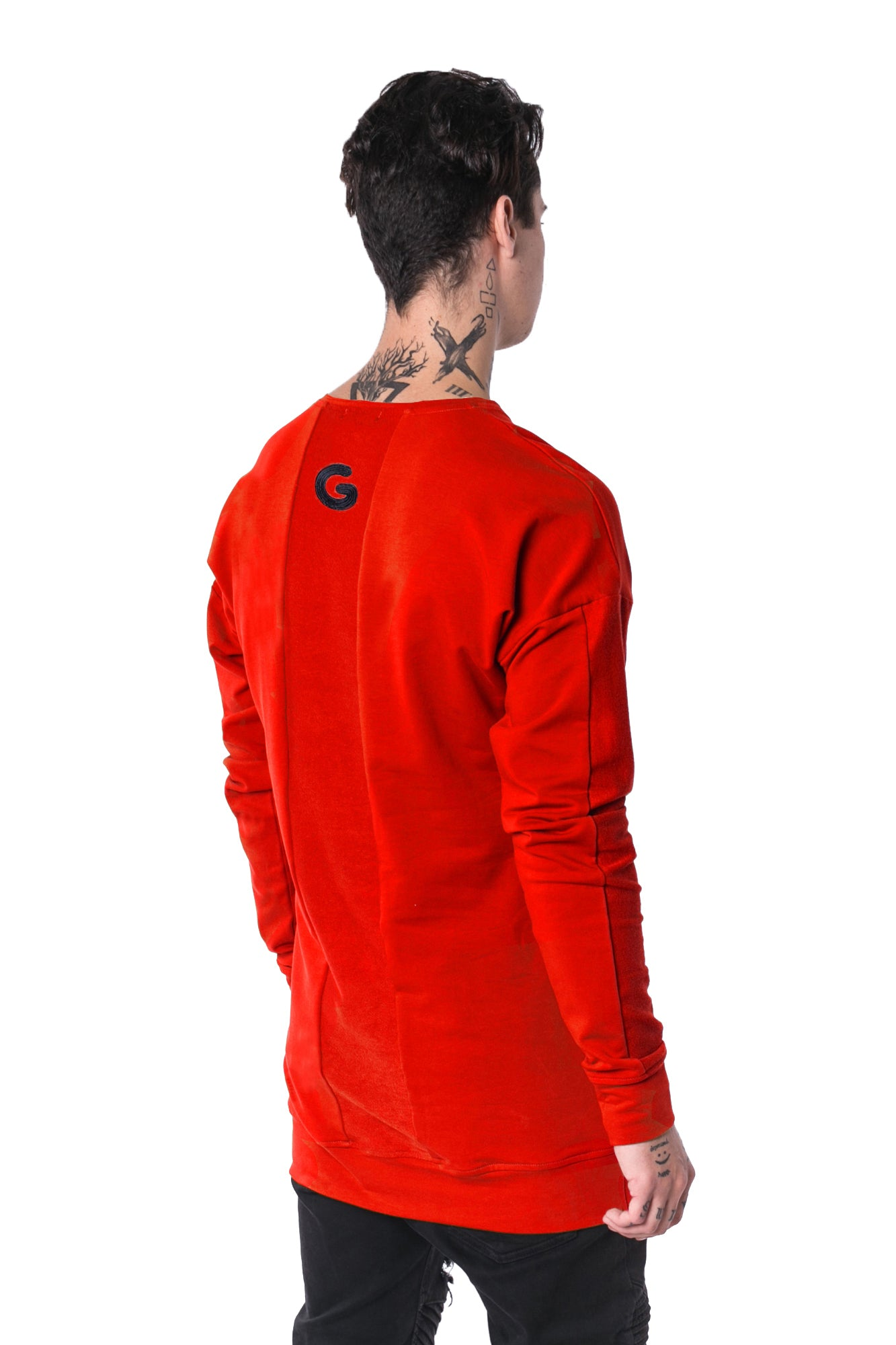 The Man Panelled Pullover Crewneck 17 // red