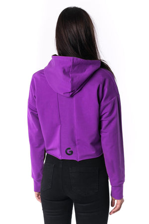 The Woman Panelled Cropped Hoody 17 // violet