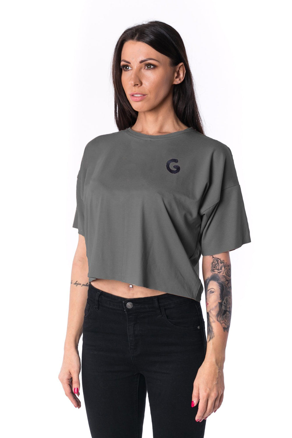 Woman Panelled Oversized Cropped Tee 17 // grey