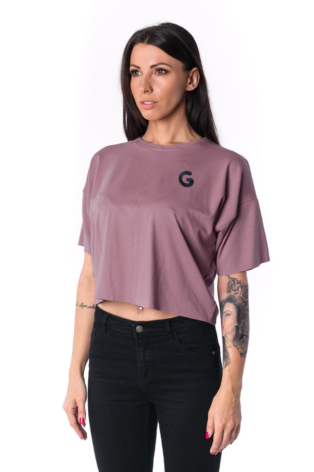 Woman Panelled Oversized Cropped Tee 17 // oldpink