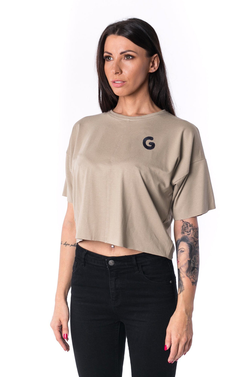 Woman Panelled Oversized Cropped Tee 17 // creme