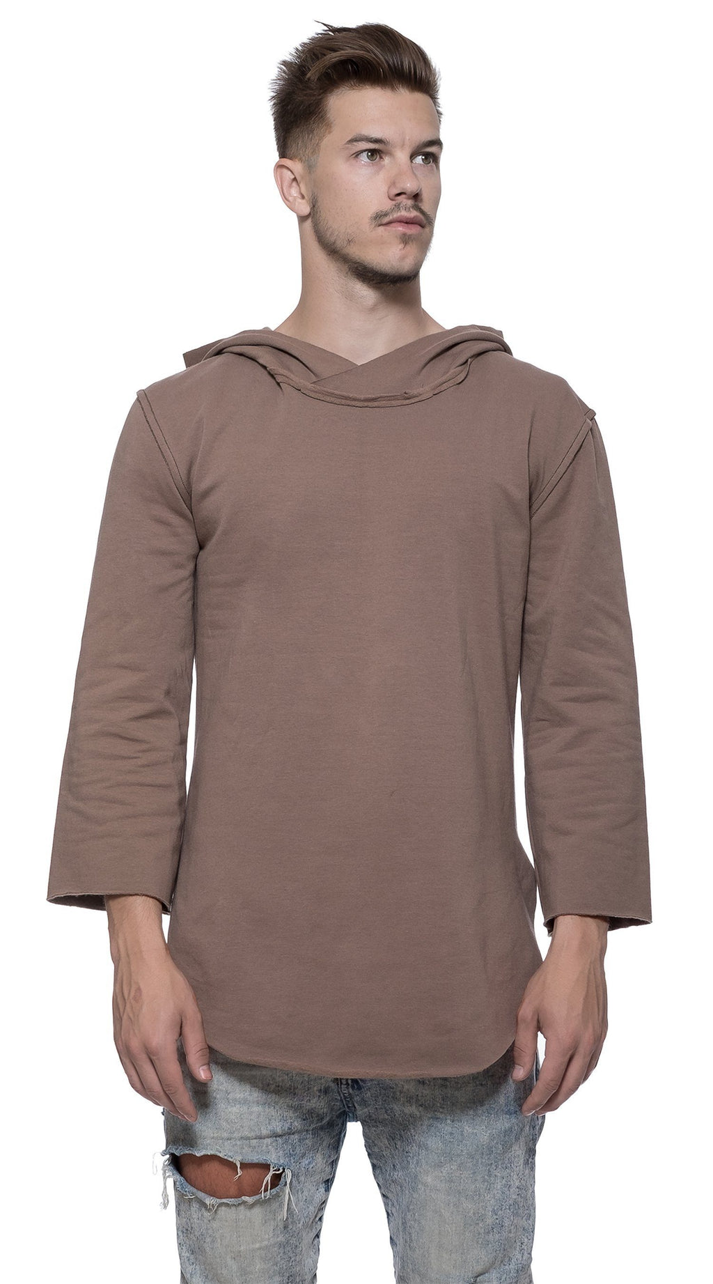 TheG man cotton handmade 3/4 Long Sleeve Hoody // khaki