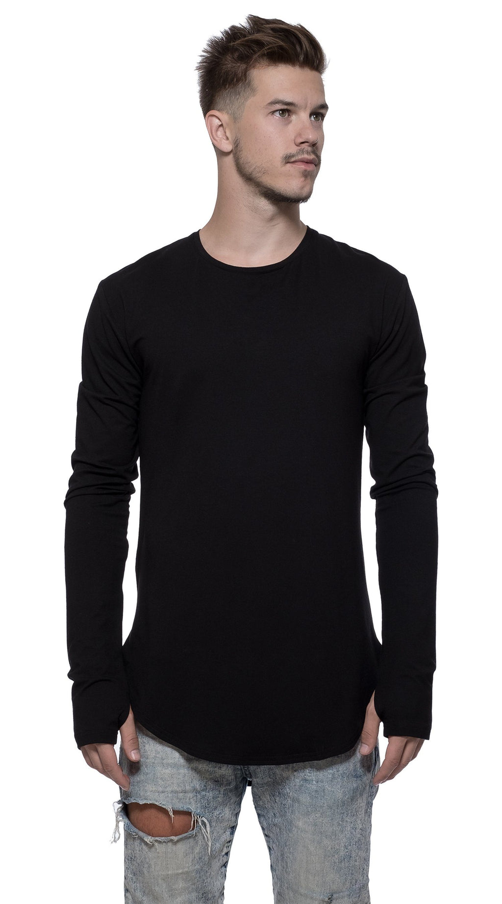TheG Man Viscose Under Long Tee // black