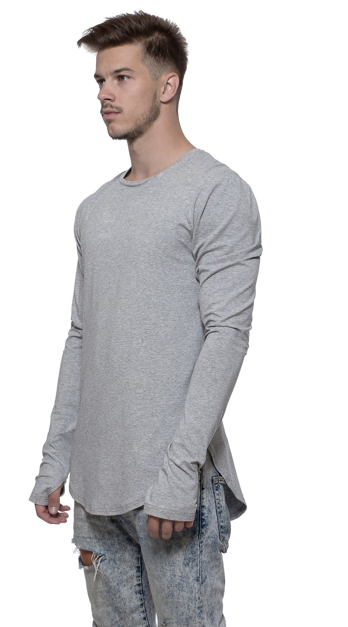 TheG viscose handmade designer under long tee gray